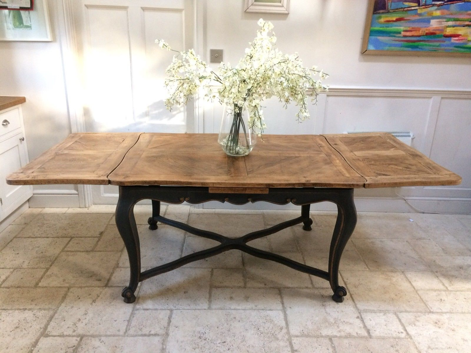 Antique French Solid Oak C19th Extending 7ft Dining Table